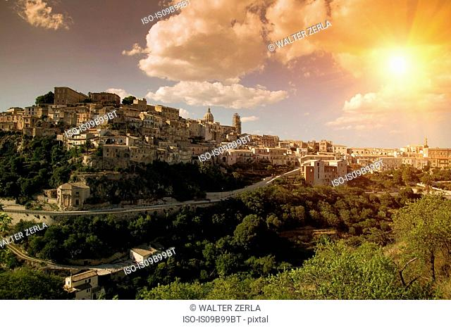Sunlit landscape view of Ragusa, Sicily, Italy
