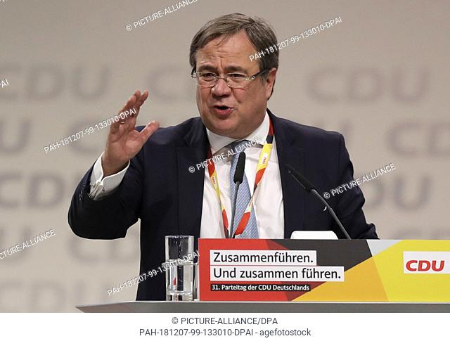 07 December 2018, Hamburg: Armin Laschet, Prime Minister of North Rhine-Westphalia, will speak to the delegates at the CDU federal party conference following...