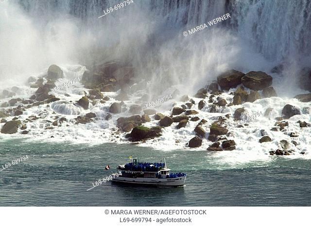 Tourist ship 'Maid of the Mist' below Niagara Falls (American falls.)  State New York. USA