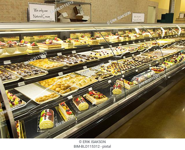 Close up of food in deli case