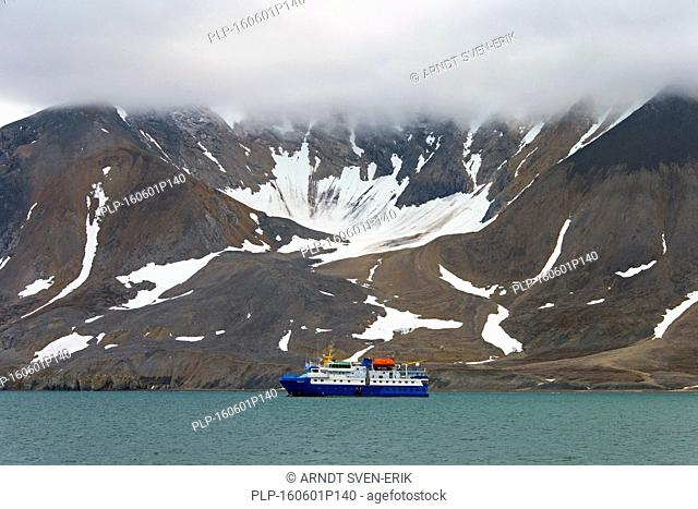 The expedition ship M/S Quest in the Hornsund fjord, west to the Greenland Sea, Svalbard, Norway