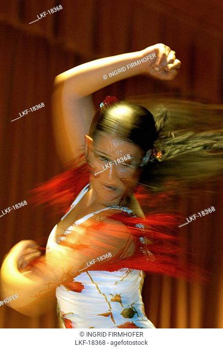 A woman dancing Flamenco, World Flamenco Fair, Seville, Andalucia, Spain, Europe