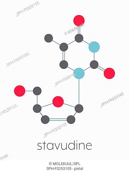 Stavudine (d4T) HIV drug molecule. Thymidine analogue that blocks reverse-transcriptase. Stylized skeletal formula (chemical structure)