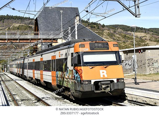 Commuter train, La Molina, Girona, Catalonia, Spain
