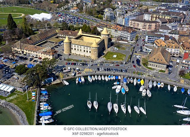Morges Castle and marina at Lake Geneva, aerial shot, Morges, Vaud, Switzerland