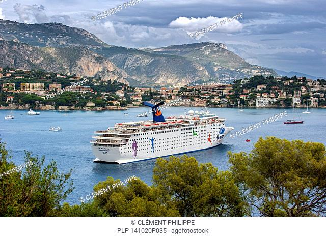 The cruise ship MS Grand Holiday of Carnival Cruise Lines docked in Nice along the French Riviera, France