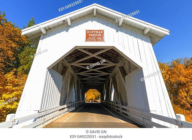 Hoffman Bridge Covered Roadway in Linn County Oregon in Autumn
