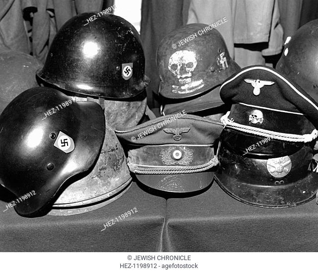 Auction of Hitler's hat at Phillips, London, c1980s? Collection of Nazi memorabilia from the Second World War for sale at Phillips' auction house