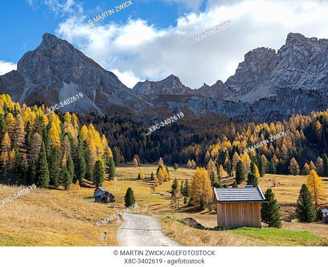 Val San Nicolo in Val di Fassa. Marmolada mountain range in the Dolomites of Trentino. Dolomites are part of the UNESCO world heritage