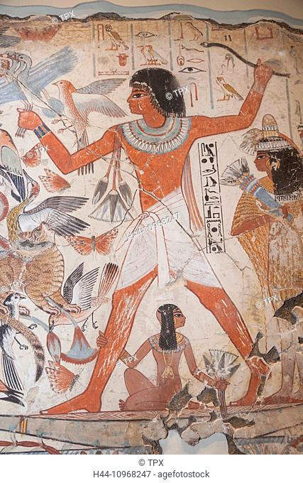 England, Europe, London, British Museum, The Tomb of Nebamun, Painting of Nebamun Hunting in the Marshes