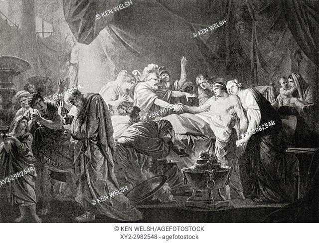 The death of Germanicus Caesar. Germanicus Julius Caesar, 15 BC - AD 19. Heir-designate of the Roman Empire under Tiberius