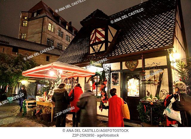 Christmas market by night Nuremberg Germany