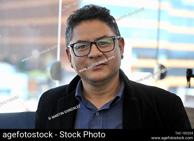 MEXICO CITY, MEXICO - OCTOBER 26: Producer Braulio Lopez poses for photos during The Blackboard And Press Conference of the movie (NUDUS) on October 26