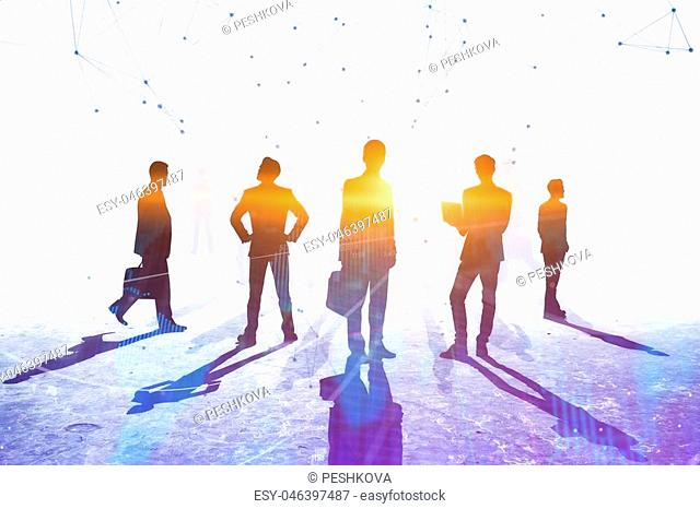 Teamwork, meeting and connection concept. Businesspeople crowd silhouettes on light city office background. Double exposure