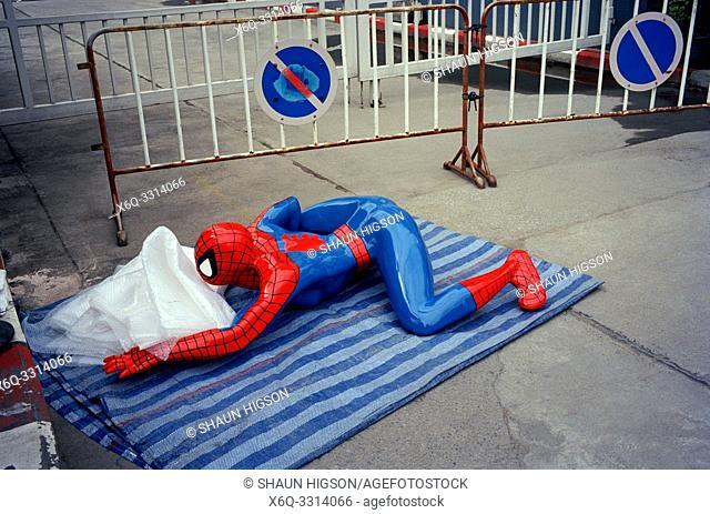 Spiderman in a flea market in Bangkok in Thailand in Southeast Asia Far East