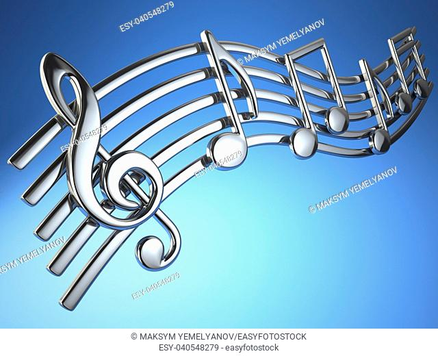 Silver music notes and treble clef on musical strings on blue background. 3d illustration