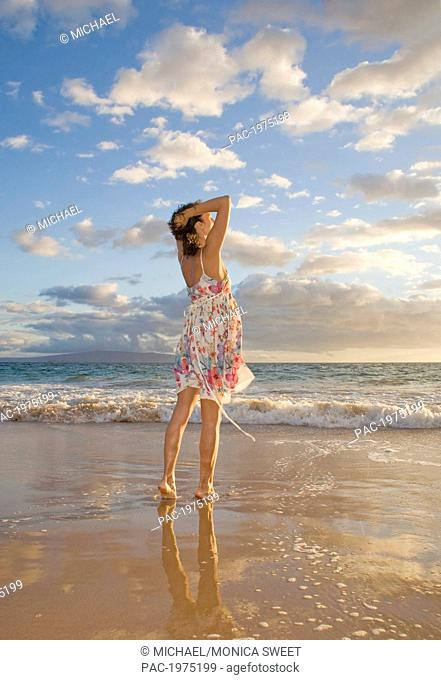 Hawaii, Maui, Woman Standing On The Shore Of Remote Tropical Location