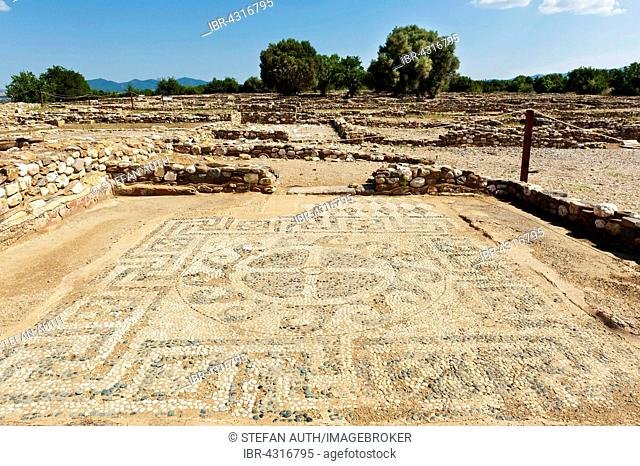 Mosaic with foundation walls, archaeological ancient city Olynthus or Olinthos, Chalcidice, Greece