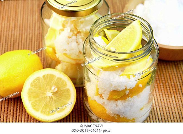 Presereved lemon with salt in jar