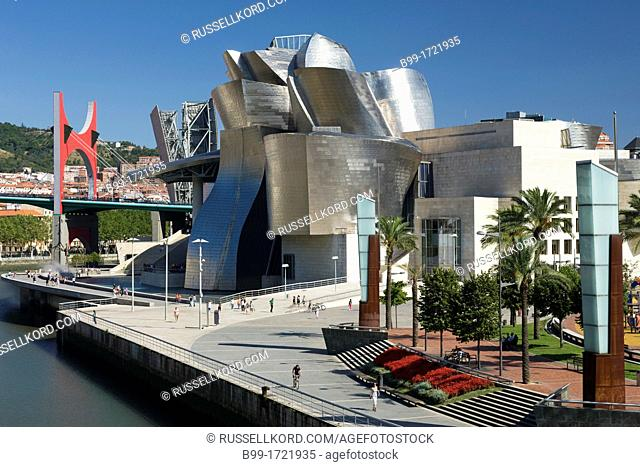 Guggenheim Museum Of Modern Art Nervion River Bilbao Basque Country Spain
