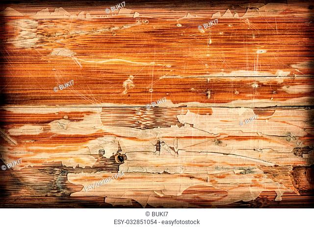 Photograph of obsolete old, weathered, varnished Wooden Laminated Panel, cracked, scratched, vignette grunge texture