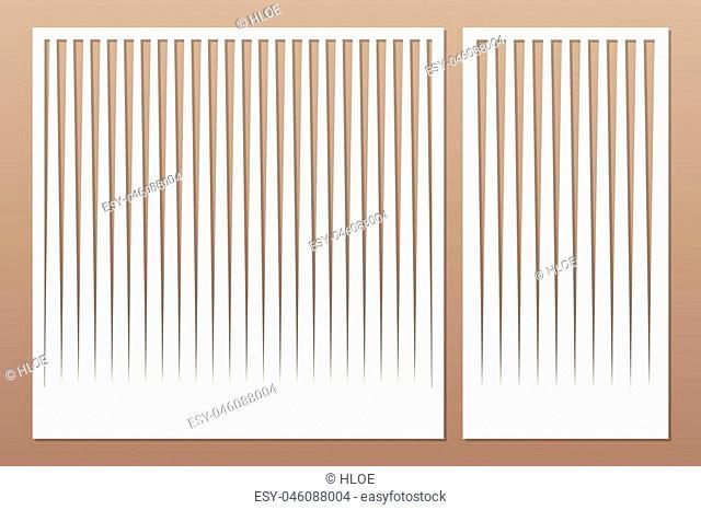 Decorative card set for cutting laser or plotter. Pattern line panel. Laser cut. Ratio 1:1; 1:2. Vector illustration