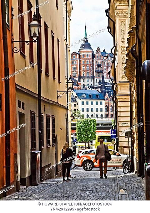 A narrow street in the Galma Stan (old town) section of Stockholm, Sweden