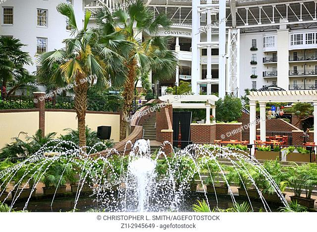 Fountains in the botanical garden style Gaylord Opryland hotel resort in Nashville TN, USA