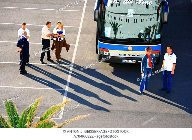 Guide before touring buses