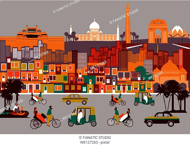 City with montage of landmarks, New Delhi, India