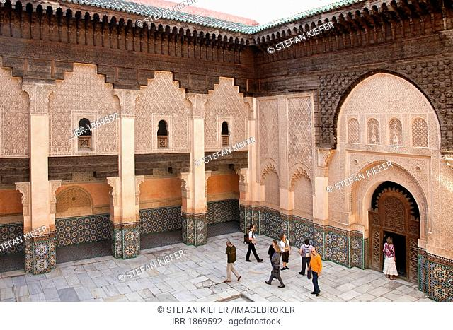 Inner courtyard of the Ben Youssef Madrasa, an Islamic college, Medina, historic district, UNESCO World Heritage site, Marrakech, Morocco, Africa