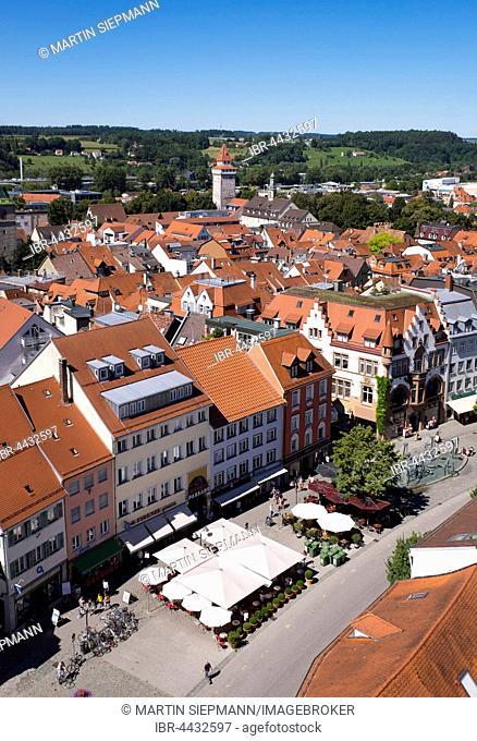 View from Blaserturm, Trumpeter's Tower to Ravensburg historic center with Marienplatz, Ravensburg, Upper Swabia, Baden-Württemberg, Germany