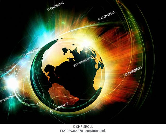 3d earth in flame - Global warming concept