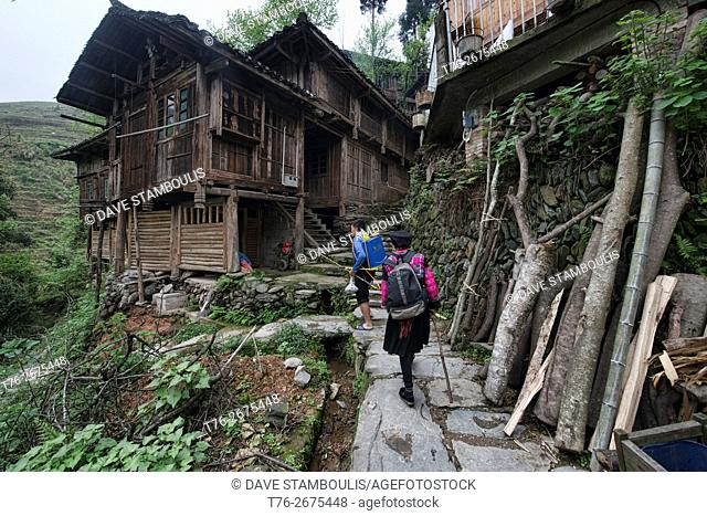 Trekking throught the Yao minority village of Dazhai, Guangxi Autonomous Region, China