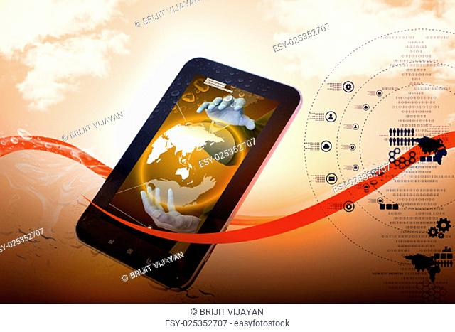 showing globe in a smart phone