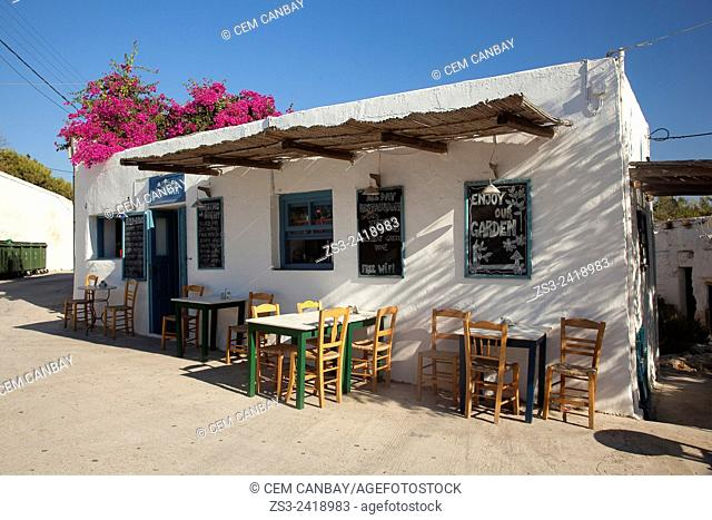 Cafe-restaurant at the town center Kastro, Folegandros, Cyclades Islands, Greek Islands, Greece, Europe