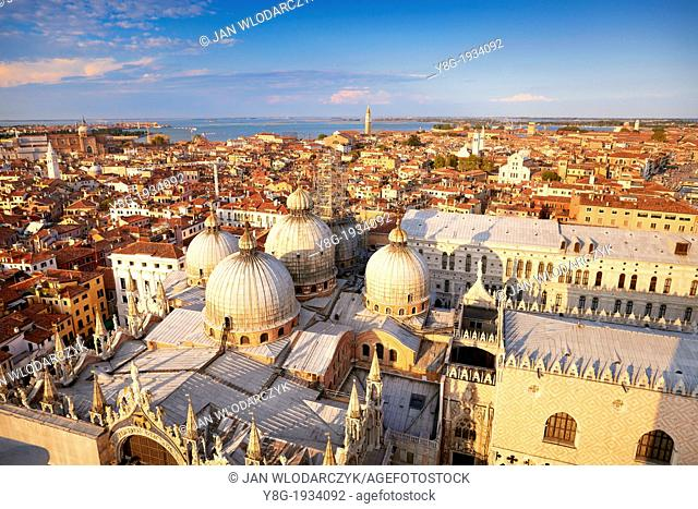 Venice - aerial view from the Campanile Campanile di San Marco of the Basilica San Marco, Venice, Italy, UNESCO