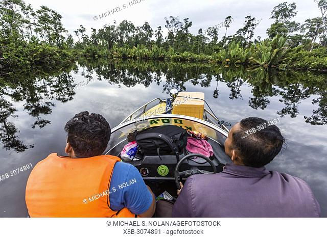 Speed Boat on the Sekonyer River, Tanjung Puting National Park, Borneo, Indonesia