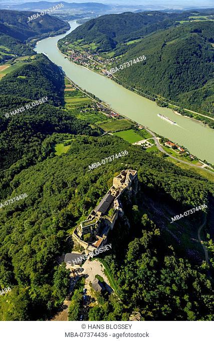 Aerial view, ruin Aggstein, Wachau, Danube Valley, Aggstein, Lower Austria, Austria