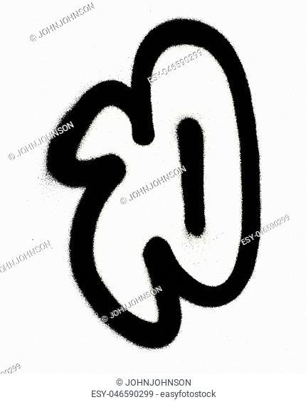 graffiti Bubble Font P in black on white
