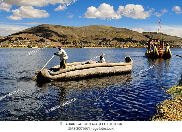 A boat made of plants in the floating islands of the Uros, in Peru