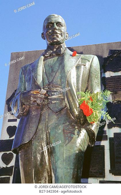Carlos Gardel statue on his grave in La Chacarita cemetery. Buenos Aires. Argentina