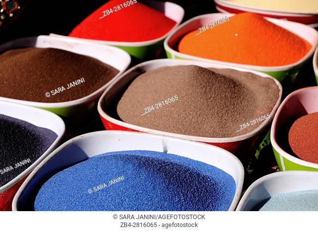 Colored sand to make glass bottles, Amman, Jordan, Middle East