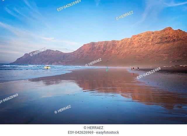Famara beach in Lanzarote, Canary islands, Spain