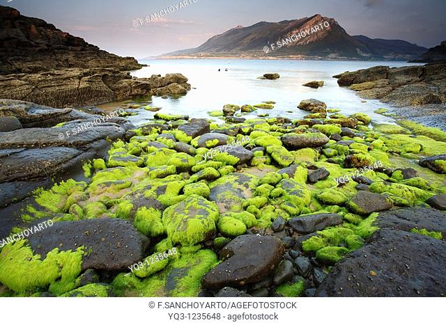 Cove in Sonabia, Montaña Oriental Costera in background. Castro Urdiales, Cantabria, Spain