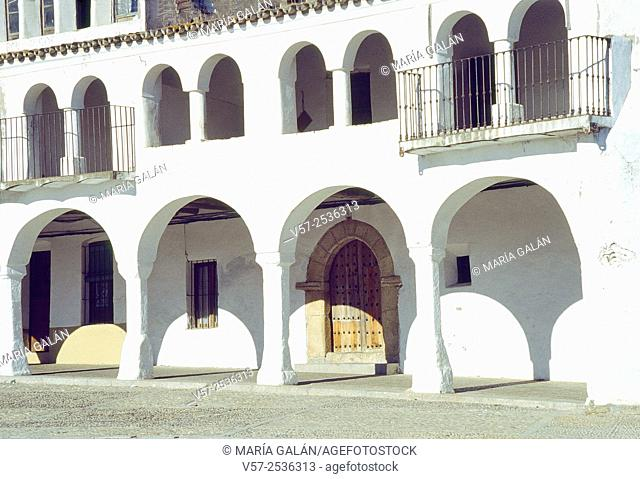 Traditional architecture. Main Square, Garrovillas, Caceres province, Extremadura, Spain