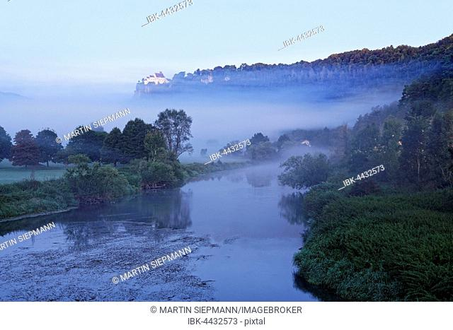 Morning mist over the Danube with Werenwag Castle, Beuron, Upper Danube Nature Park, Swabian Jura, Baden-Württemberg, Germany