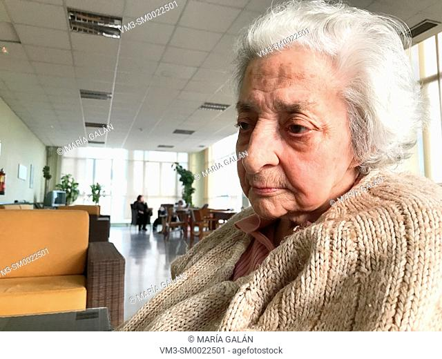 Portrait of old lady in a nursing home