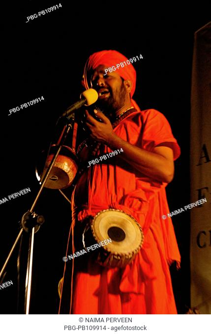 Kiron Chandran Roy, a baul singer performs Chittagong, Bangladesh June 2009