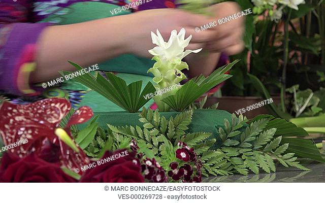 Floral composition of a center table